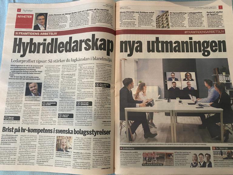 antoni lacinai i Dagens industri om hybridledarskap och arbetsglädje